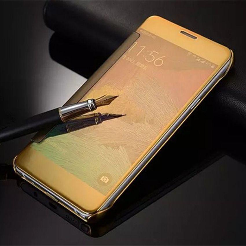 Pour Samsung Note 4 Flip Cas Clear View Galvanoplastie Dur Miroir couverture Téléphone Cas Pour Samsung Galaxy Note 4 Note4 N910 N910F