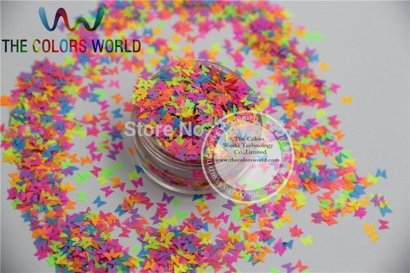 FN3-44 Mix Bright  Neon Colors Solvent Resistant Butterfly Spangles  for nail art  and  Other DIY decoration 1Pack =50g