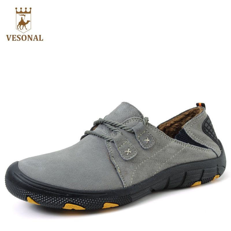 VESONAL Otoño Invierno Caliente de la Piel de Cuero Genuino Masculino Zapatos Para Hombres Zapatillas de Deporte Casuales de Marca de Calidad Moda Pie Calzado Hombre