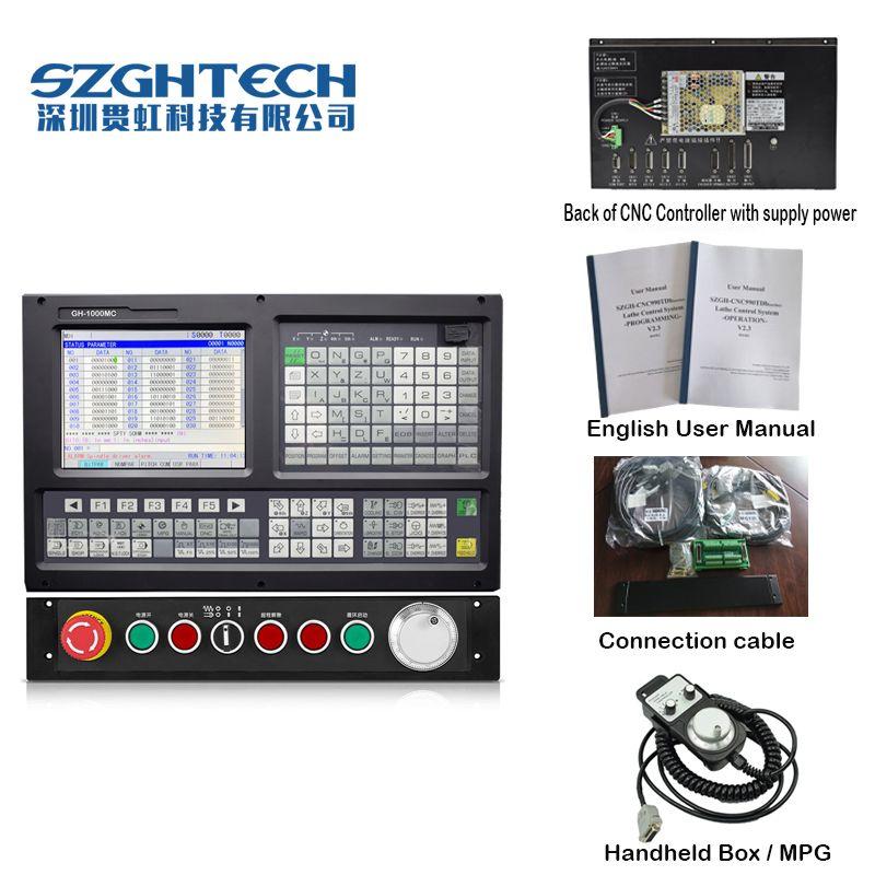 China gold Englisch Panel 5 Achsen CNC controller für fräsen und bohren maschine stepper servo G-code PLC + ATC.