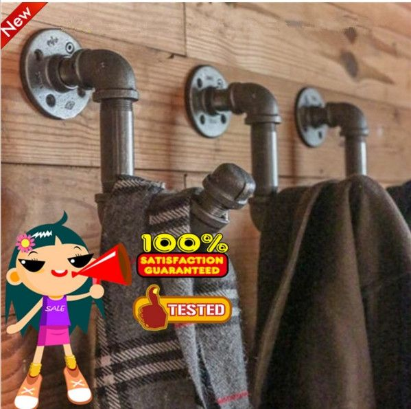 3 PCS American Country Pipe Coat Racks Retro Loft Industrial Clothing Hooks Metal Iron Pipe Coat Hook Towel Rack hanging-Z42
