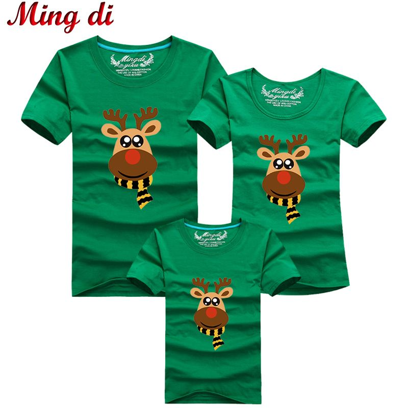 Ming Di Cartoon Christmas Deer Summer T shirts 2017 Family Matching Outfits T Shirt Fashion Cotton Family Look Children Clothing