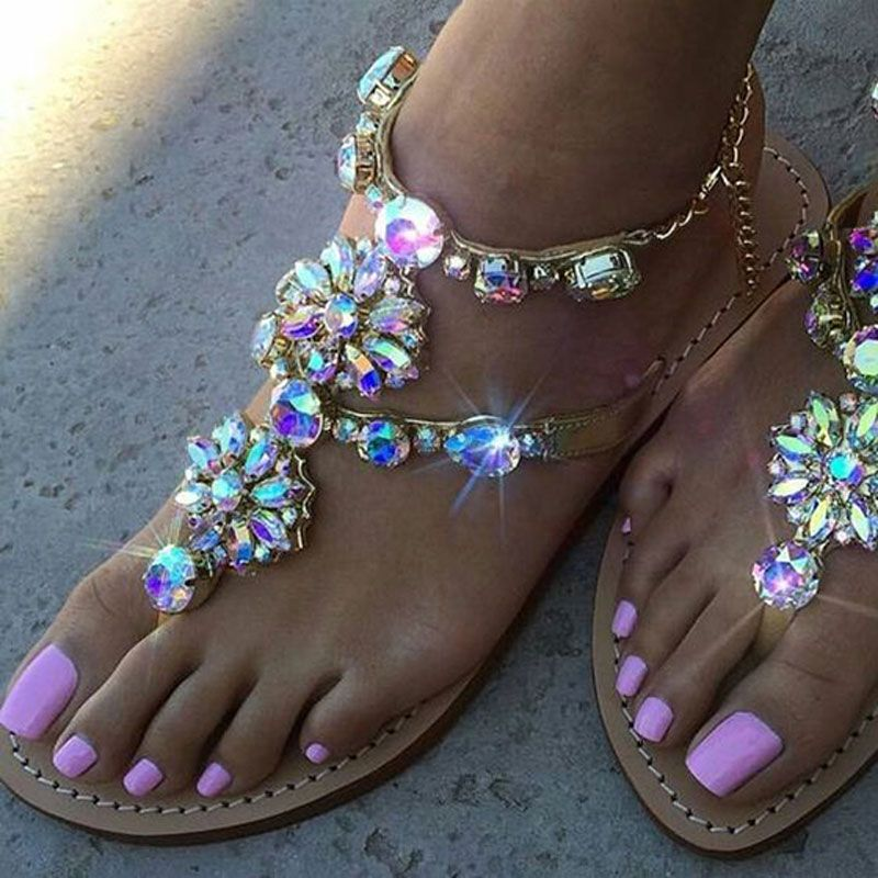 HUALUN High heels shoes woman sandals women Rhinestones Chains Flat Sandals plus size Thong Flat sandals gladiator sandals