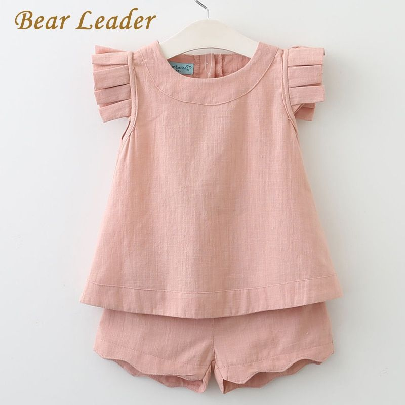 Bear Leader Girls Clothing Sets 2017 Summer Fashion Sleeveless Solid O-Neck T-shirts+Pants 2Pcs for Girls Suits Kids Clothes
