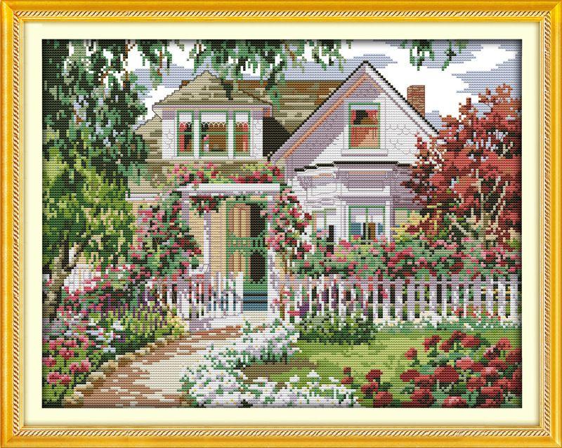Joli Jardin Villa Gogh Imprimé Toile DMC Compté Kits de Point De Croix Chinois imprimé point de Croix ensemble Broderie