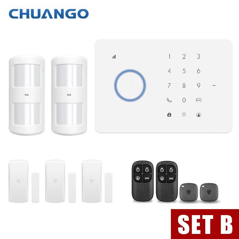 CHUANGO app control Wireless Home GSM Sicherheit Alarm System Kit APP Control Mit Auto Zifferblatt Motion Detektor Sensor Einbrecher alarm