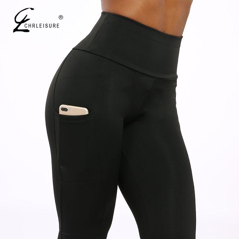 CHRLEISURE Push Up Fitness Leggings Women High Waist Workout Legging with Pockets Patchwork Leggins Pants Women Fitness Clothing