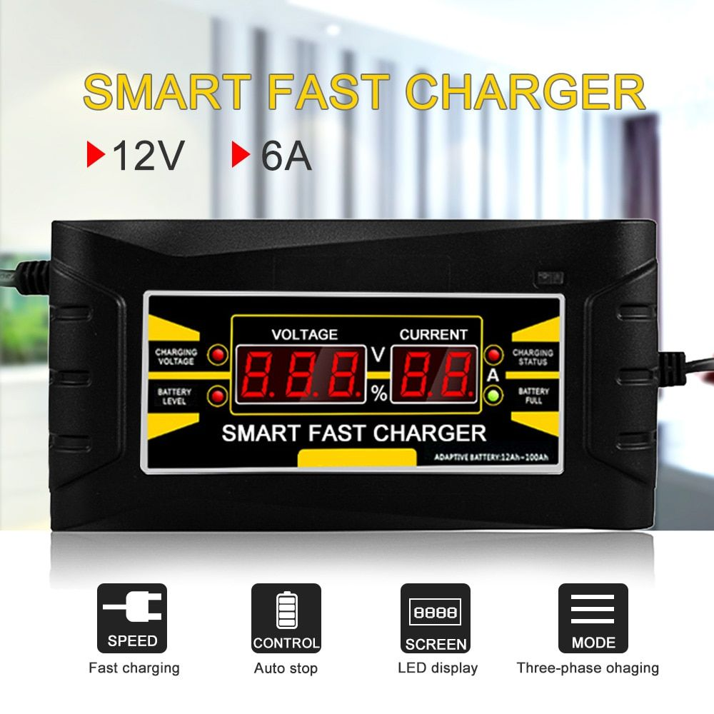 Full Automatic Car Battery Charger 150V/250V To 12V 6A Smart Fast Power Charging For Wet Dry Lead Acid LCD Display US Plug