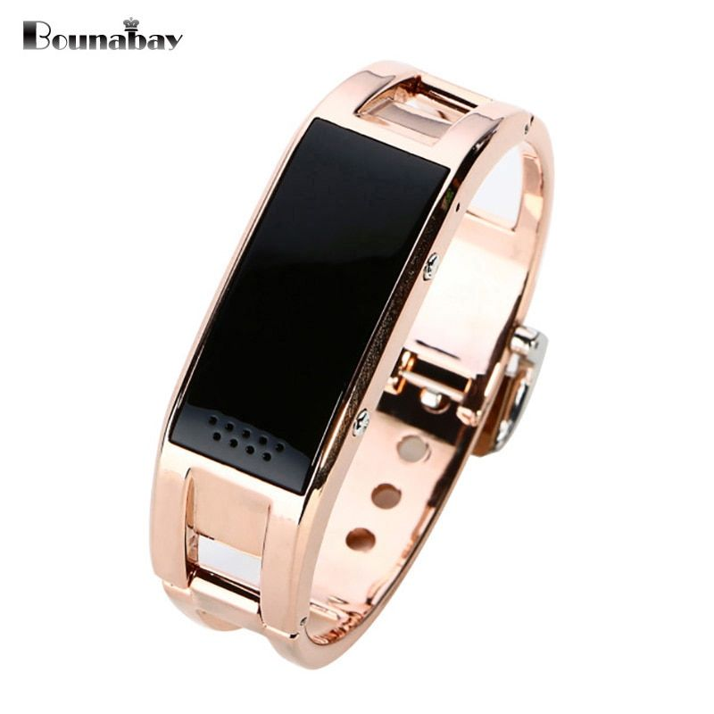 BOUNABAY Smart Sport Multi-function Bracelet watch for women ladies Bluetooth waterproof Android phone woman Rose Gold Clocks