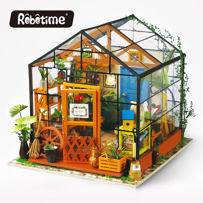 Robotime 3D Wooden Puzzle DIY Handmade Furniture Miniature Dollhouse Building Model Home Decoration green house DG104