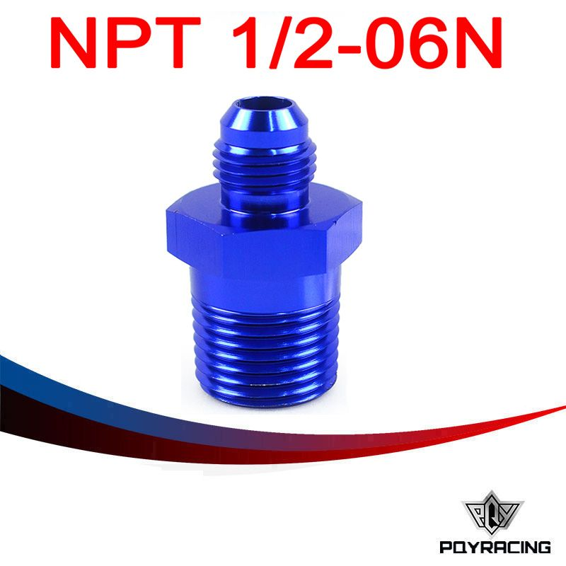PQY RACING- (AN6-NPT1/2) AN6 to 1/2 NPT Straight Adapter Flare Fitting auto hose fitting Male PQY-SL816-06-08-011
