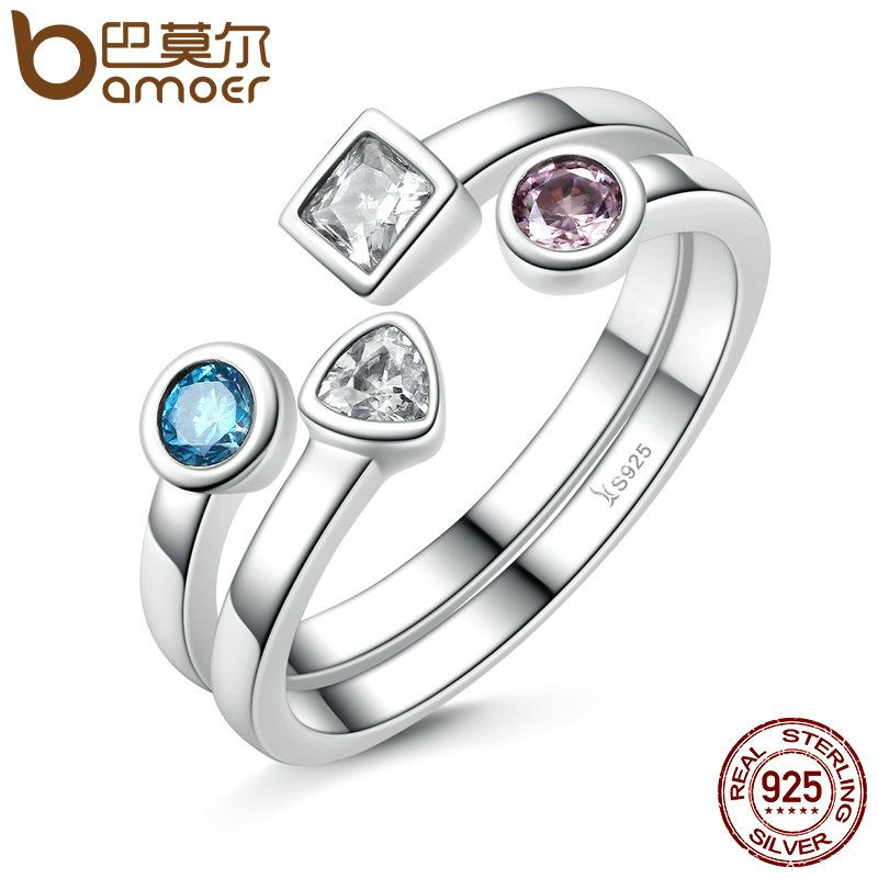 BAMOER New Collection 925 Sterling Silver Finger Ring Set & Clear CZ Vintage Ring for Women Sterling-Silver-Jewelry SCR021