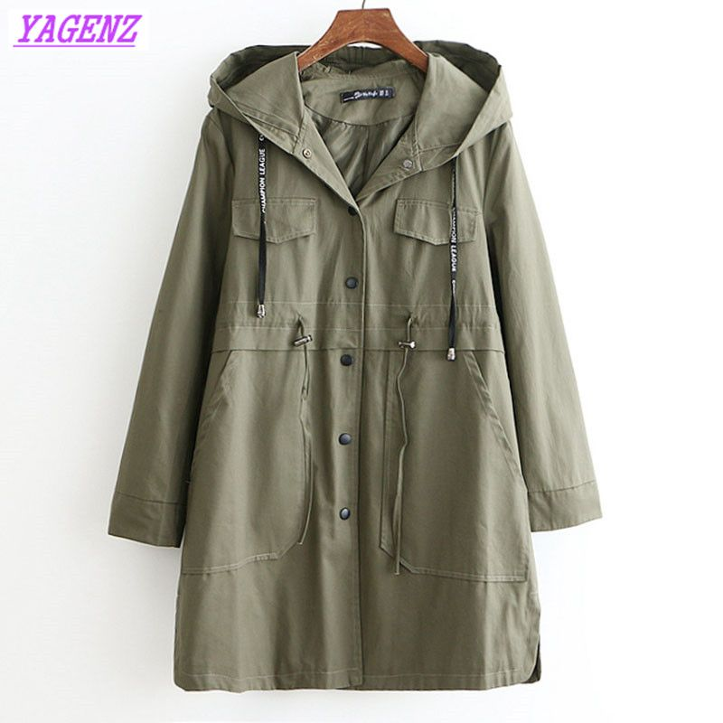 Plus size Windbreaker Coat Women's Spring Autumn New Wild Thing Hooded Trench Coat Fashion Women Waist Add Cotton Overcoat B643