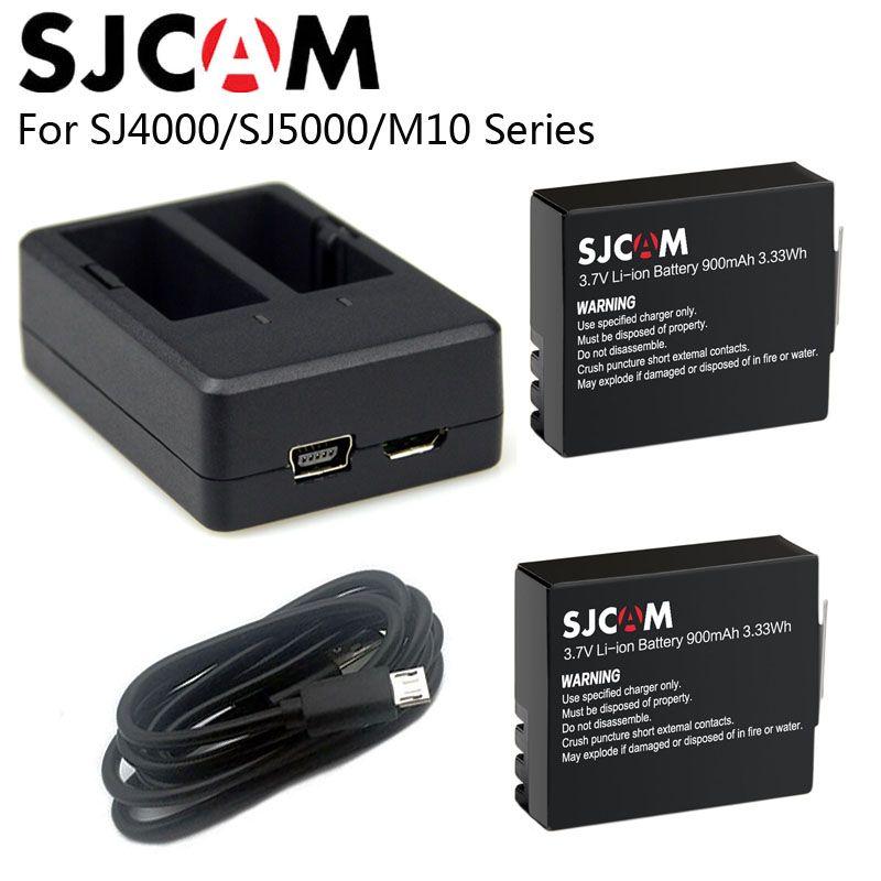 SJCAM SJ4000 Батарея + двойной Зарядное устройство 900 мАч аккумуляторная 3.7 В литий-ионный Батарея SJ4000 Wi-Fi sj5000 Wi-Fi M10 SJ5000X Elite действие Камера