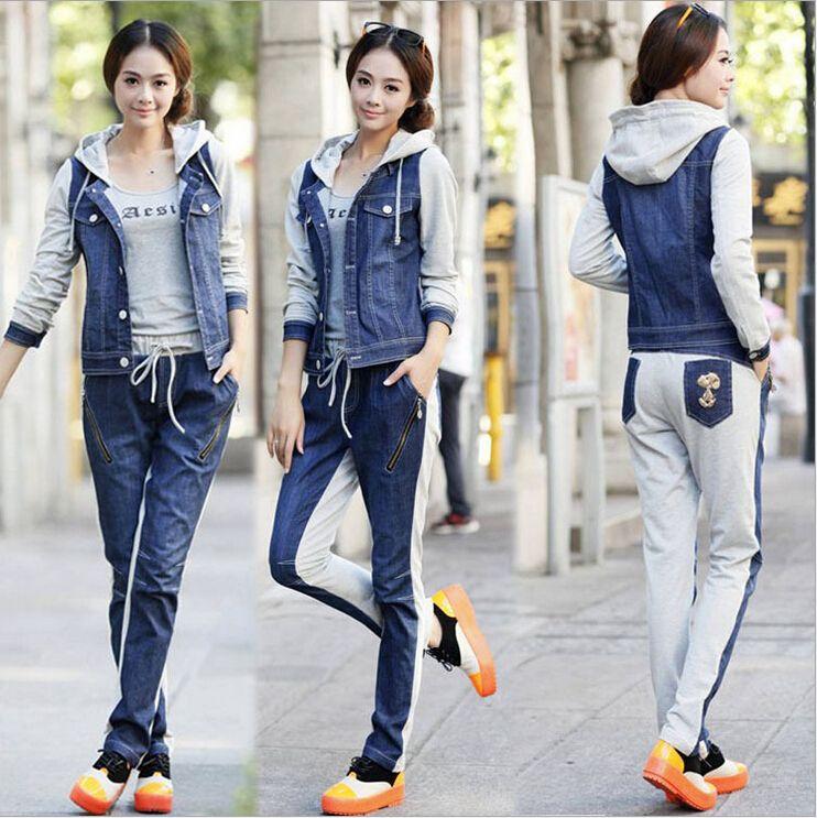 Automne costumes ensemble mode coréenne femmes tricot couture denim capuche veste + pantalon décontracté 2 pièces ensemble femmes