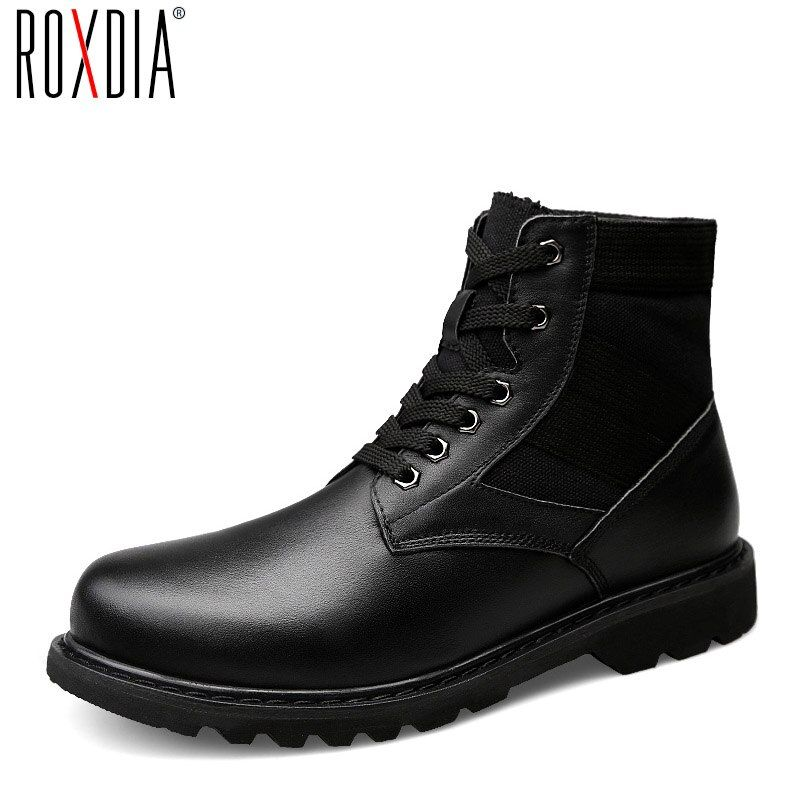 ROXDIA hombres botas hombre zapatos de nieve caliente del invierno genuino cuero con tela negro ramita otoño más el tamaño 39-48 RXM056