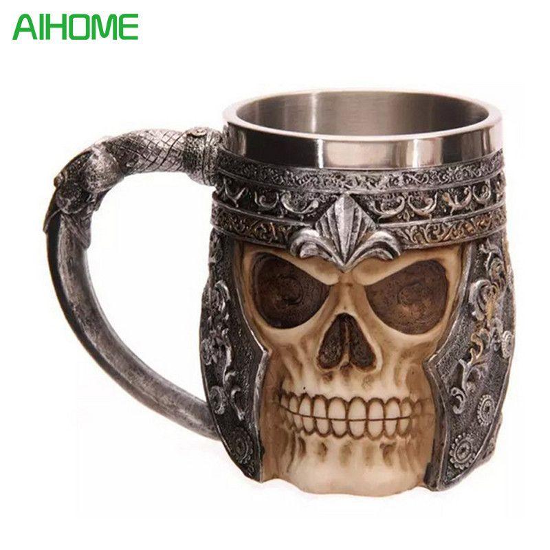 1 pièce frappant crâne guerrier Tankard Viking crâne bière tasse gothique casque Drinkware navire