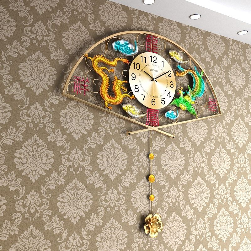 Chinese Style Metal Auspicious Dragon and Phoenix Clock Needle Digital Quartz Swing Big Wall Clocks Living Room Decoration Gifts