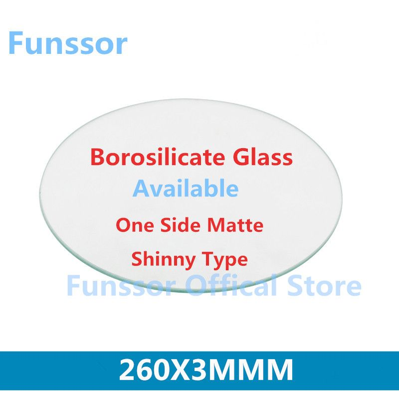 Funssor  260mm  round  borosilicat, 3mm Thickness  For DIY Delta 3D Printer