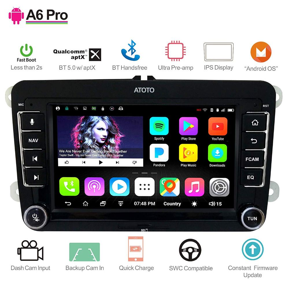 [For Volkswagen/VW] ATOTO A6 Android Car Navigation GPS Stereo - 2x Bluetooth aptX /Ultra Preamplifier - Pro A6YVW721PRB Radio
