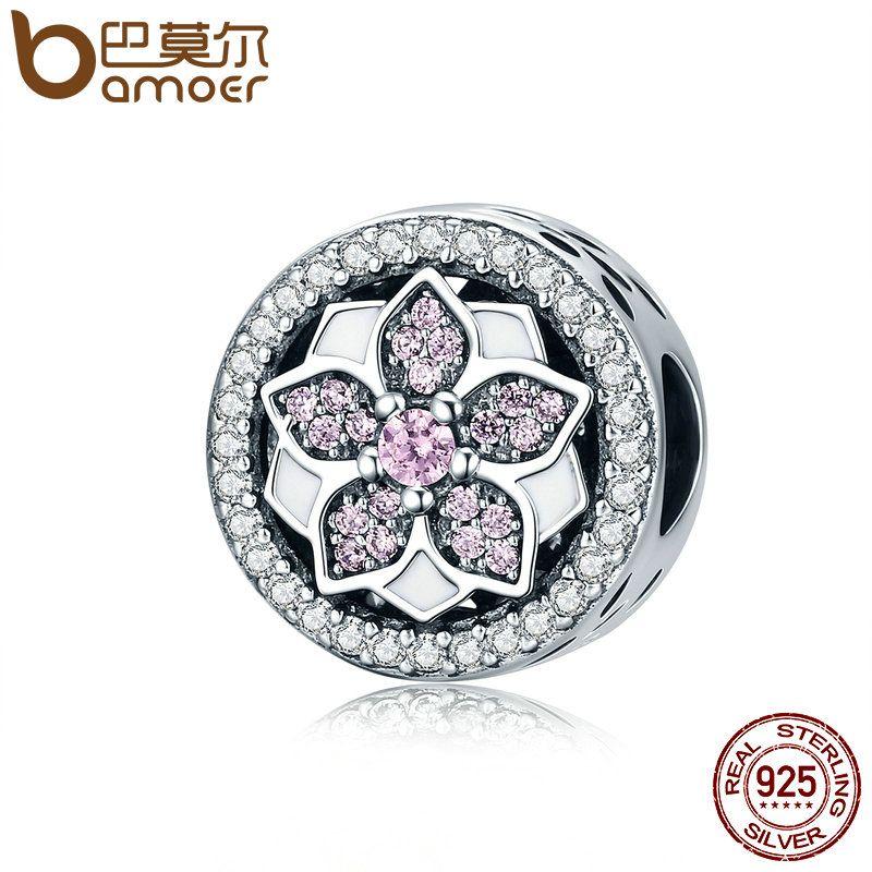 BAMOER Genuine 925 Sterling Silver Blooming Flower ,Pink Clear CZ Beads fit Original Bracelets & Bangles DIY Fine Jewelry SCC138