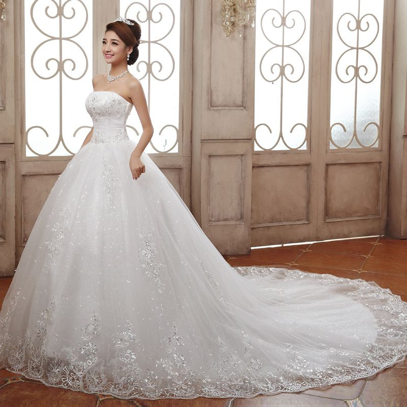 Cheap Wedding Dresses 2016 Good Quality Luxury Princess Lace Embroidery Plus Size Long Train Bow Bridal Married Wedding Dresses