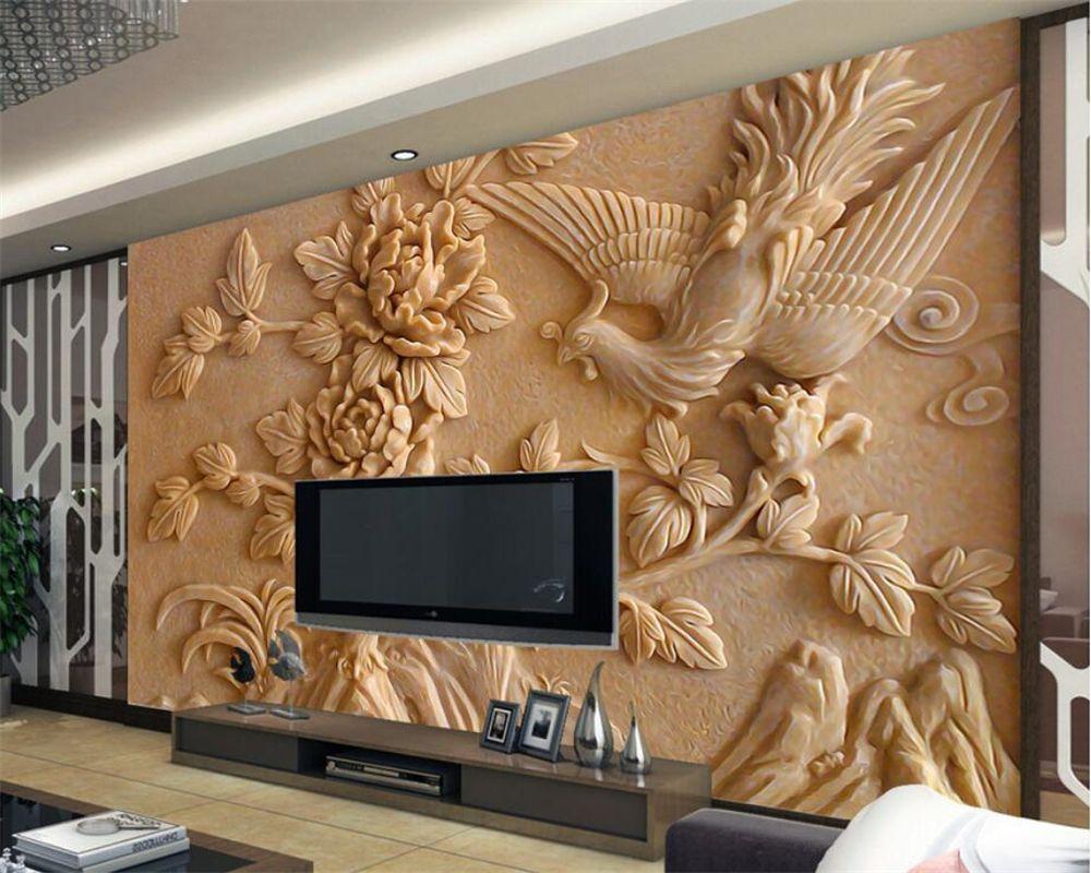 Beibehang 3d обои стерео рельеф Феникс пион росписи Гостиная Спальня ТВ Задний план фрески фото обои для стен 3 D