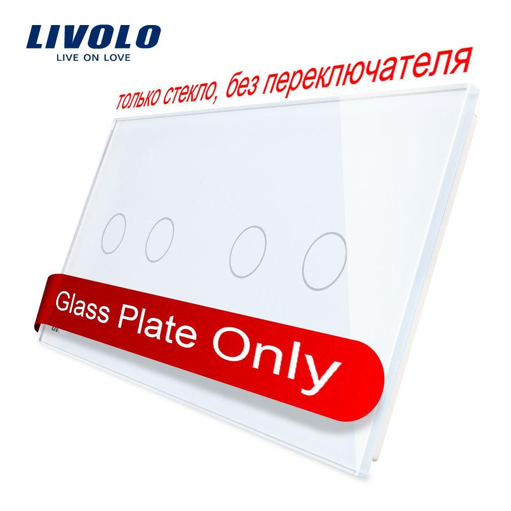 Livolo luxe blanc perle cristal verre, 151mm * 80mm, norme EU, Double panneau de verre VL-C7-C2/C2-11 (4 couleurs)