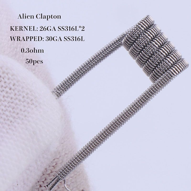 XFKM 50 pcs alien fused clapton tiger mix flat twisted  coils premade wrap wires  Quad hive Heating Resistance coil a1