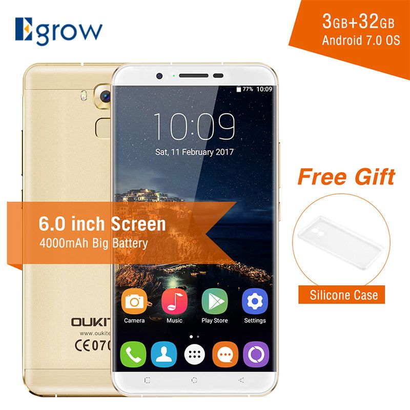 Oukitel U16 Max MTK6753 Octa Core Android 7.0 Smartphone 6.0 Inch 3G RAM 32G ROM Mobile Phone 4000mAh Fingerprint Cell phones