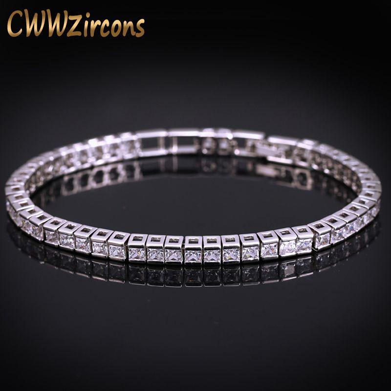 CWWZircons Marque Carré 3mm Cubique Zircone De Tennis Bracelets Pour Femme Blanc Or Couleur Princesse Cut CZ Bijoux De Mariage CB169