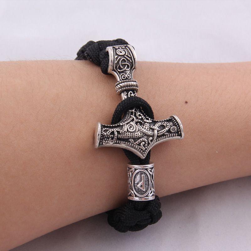 dropshipping 1pcs thor's hammer mjolnir bracelet viking scandinavian norse viking bracelet Men gift