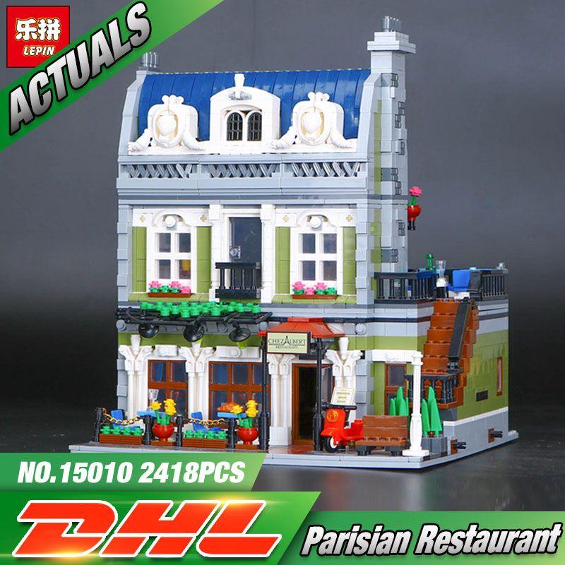 2017 NEW Lepin 15010 Expert City Street Parisian Restaurant Model Building Kits Blocks Funny Children Toys Compatible 10243