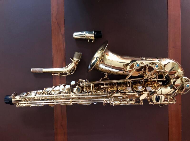 Neue Yanagisawa AW01 Alto Saxophon Gold Lack E flache Sax Professionelle Instrumente Mit Mundstück, Fall, Zubehör