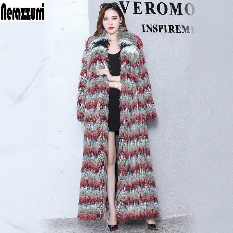 Nerazzurri Fluffy faux fur coat woman extra long gradual color furry fake fur mongolia sheep fur overcoat plus size 5xl 6xl