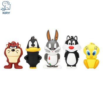 KRY Cartoon Cat Duck Rabbit Lion USB Flash Drive 2.0 4GB 8GB 16GB 32GB 64GB Creative USB Flash Drive Pendrive Free Shipping