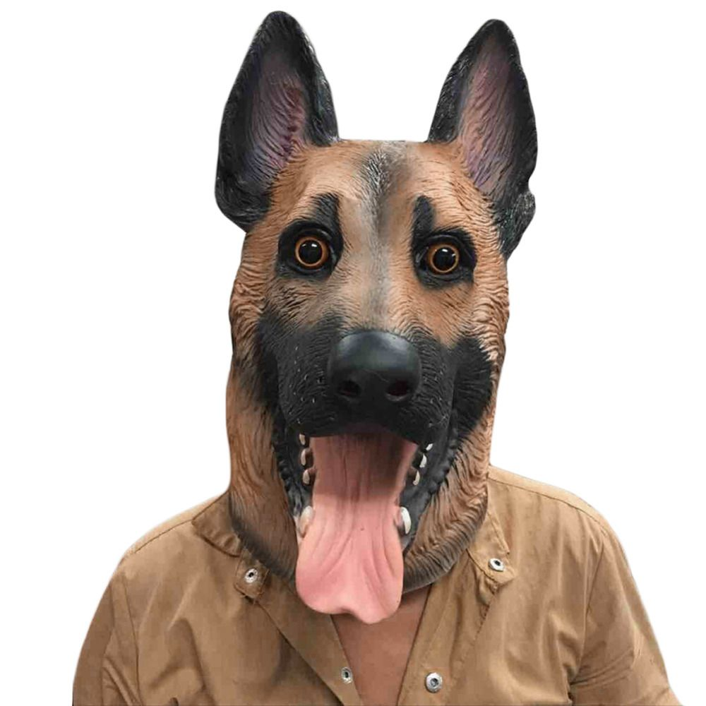 Dog <font><b>Head</b></font> Latex Mask Full Face Adult Mask Breathable Halloween Masquerade Fancy Dress Party Cosplay Costume Lovely Animal Mask