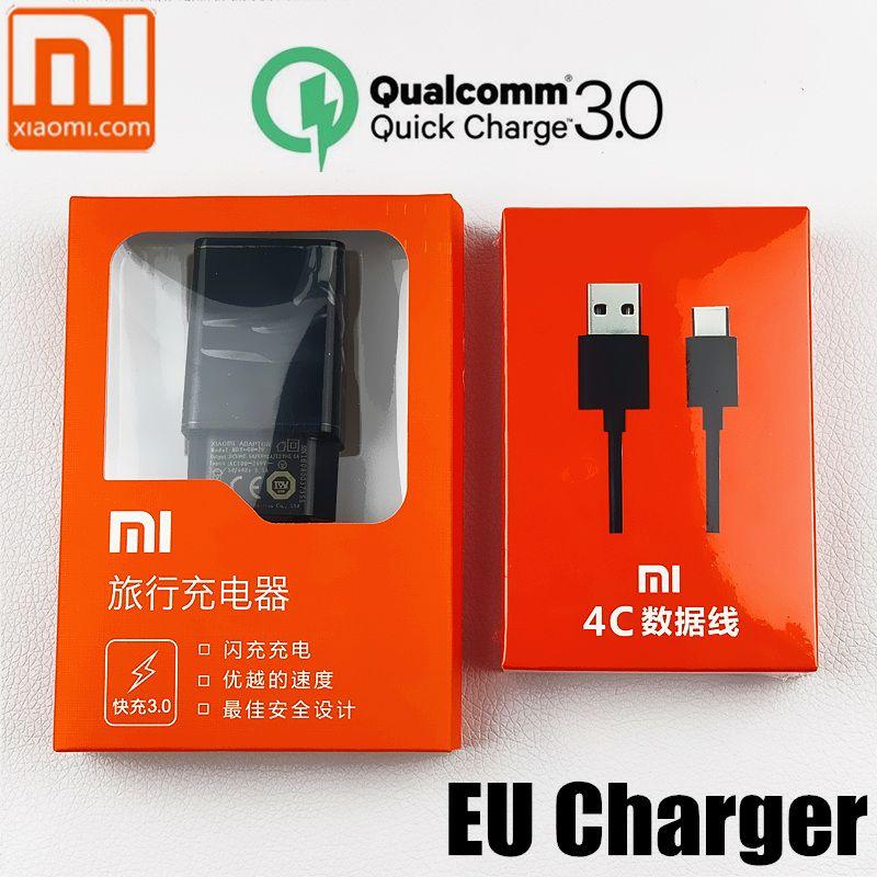 Chargeur d'origine EU xiaomi mi 9 QC 3.0 chargeur rapide pour 9 a2 a1 8 se 6 5 s 5 redmi Note 7 mi 9 mi 6 mi 8 mi x 2 s max 3