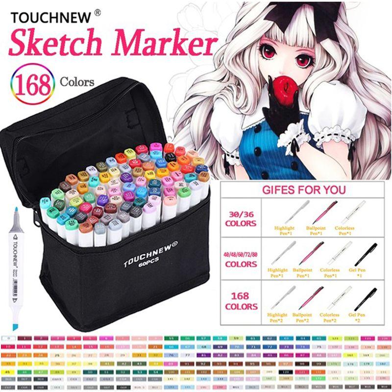 TOUCHNEW Art Marqueur 30 40 60 80 168 Couleurs Artiste Double Tête Marqueur Ensemble Pour Animation Manga École de Design Dessin sketch Marker