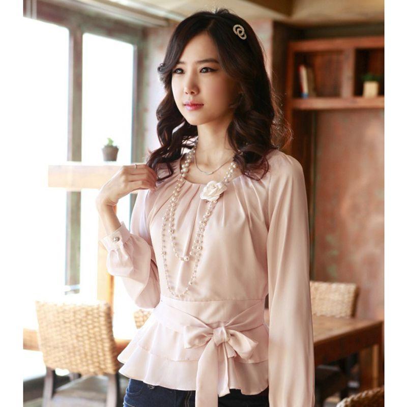 Beauté Carrière Lady Mode En Mousseline de Soie Blouses Taille S-2XL Coréenne Blanc et Rose Intelligente Taille Rayonne Doux Femmes Casual Shirts