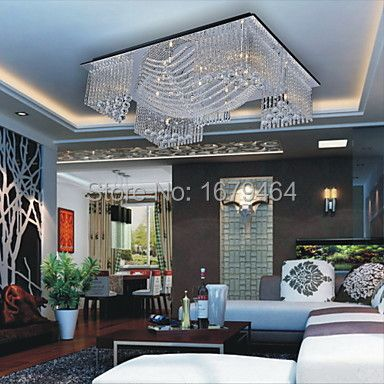 K9 Crystal LED 20W Beaded Ceiling Light with 13 G4 in Warm White Source Transparent 80*80*18CM