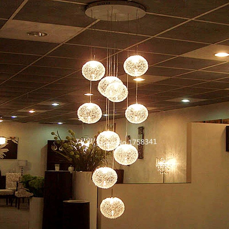 Hot Sale Ceiling Lights high quality Large Long Stair  Round Ball  Hotel  Lights lustres de teto Glass  factory outlets