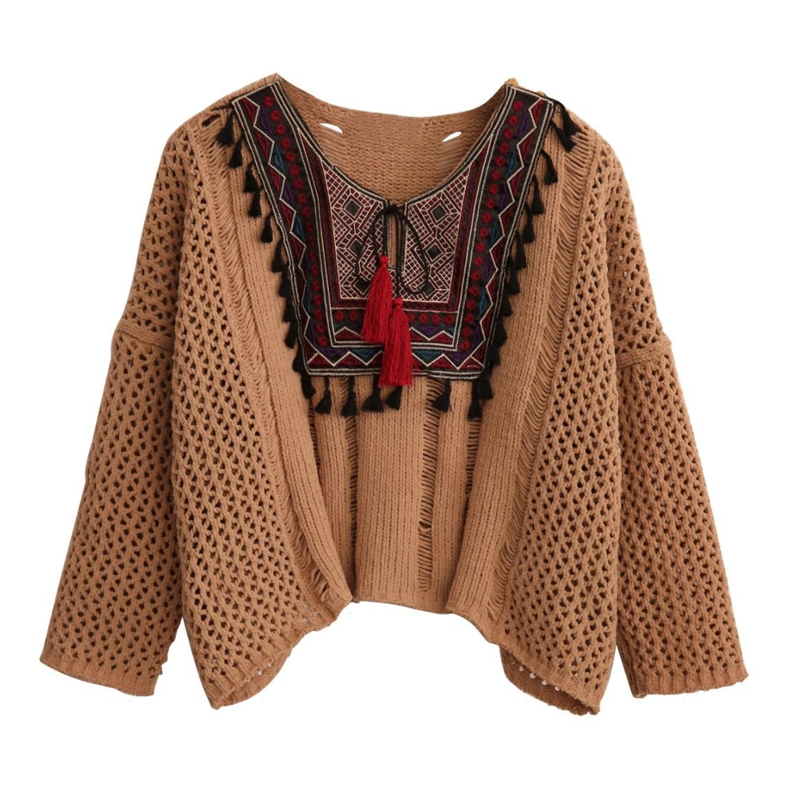 2018 Autumn Coffee color Round Neck Long Sleeve Casual Loose Sweater Tasseled Tie Embroidered Yoke Eyelet Jumper Sweater