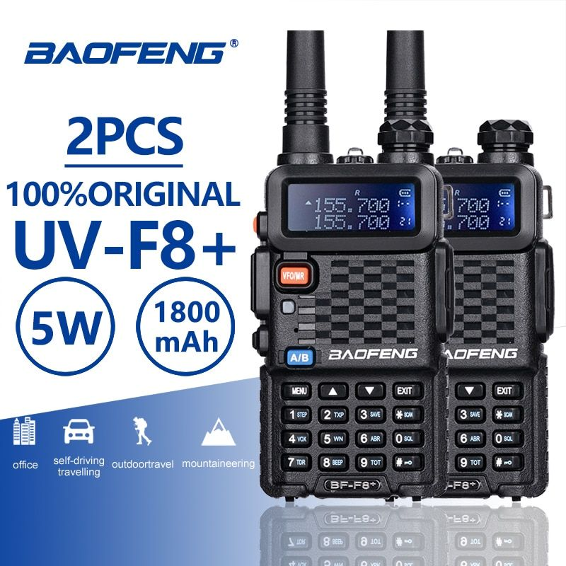 2PCS Baofeng BF-F8+ UHF/VHF Walkie Talkie 10KM With PTT Earphone Portable Handheld Hotel CB Car Radio Station Ham HF Transceiver