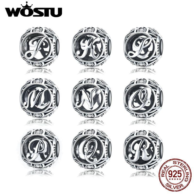 Authentique 925 argent Sterling Vintage A à Z, clair CZ lettre charmes perles Fit Original WST Bracelets et Bracelets bijoux