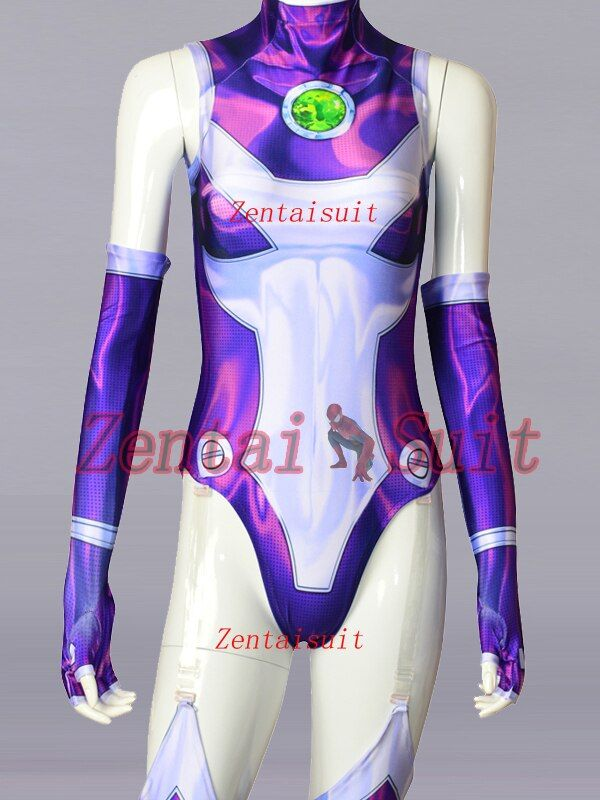 New Style Starfire Teen Titans Costume Spandex 3D Printing Starfire Superhero Costumes Cosplay Zentai Suit For Girl/Female/Women