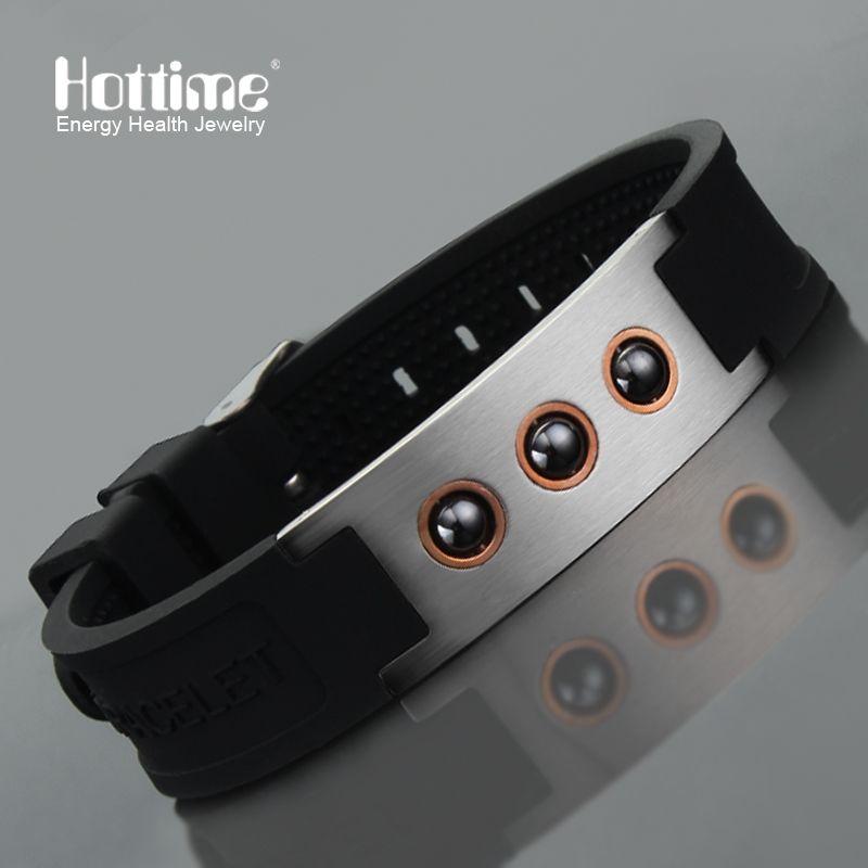 Hottime Multicolore Puissance 1000 ions Sport Titane Acier Bracelet Poignet Bande Améliorer le Sommeil 4in1 D'énergie Bracelets Bracelet 20010