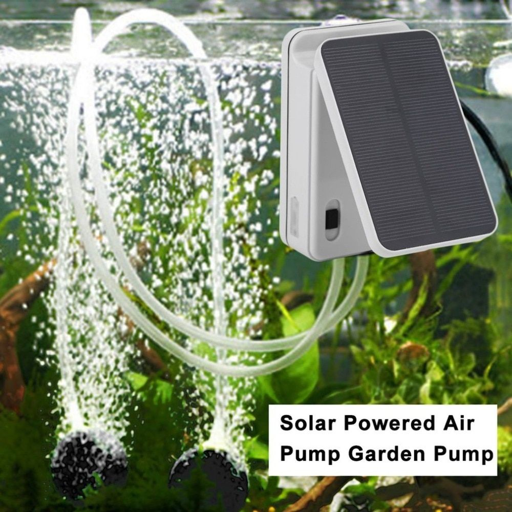 Solar Powered/Battery Oxygenator Water Oxygen Air Pump Pond Aerator with 1 Air Stone Aquarium Airpump