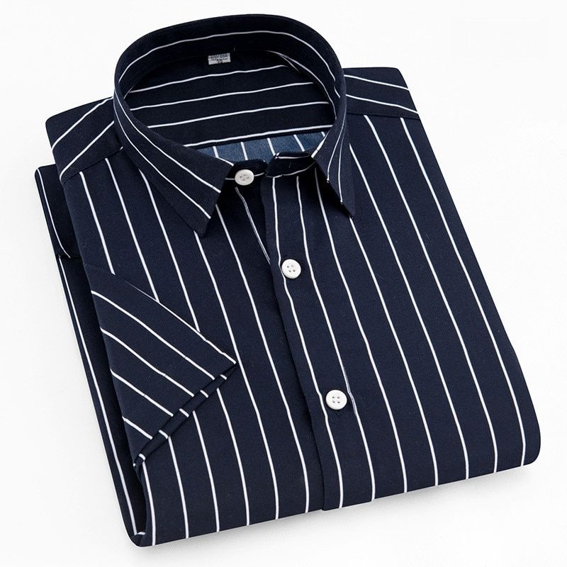 2018 Summer short sleeve Turn down collar soft thin comfortable striped men casual shirts without chest pocket 7colors s to 4xl