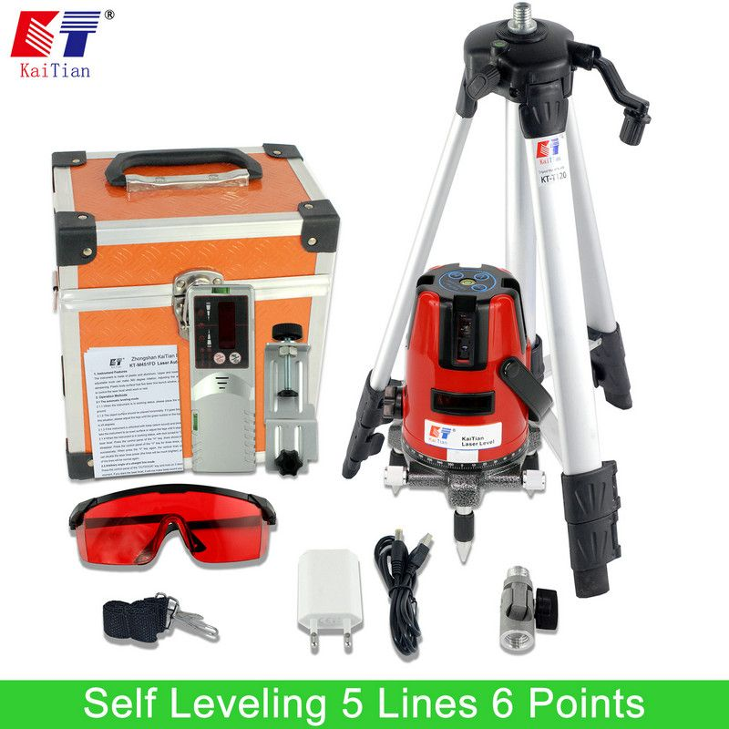 KaiTian Laser Level Tripod 5 Lines Detector Outdoor with Tilt Function 360 Rotary 635nM EU Self Leveling Cross Line Level China